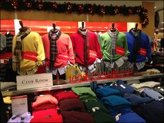 Christmas Colors in Fall Menswear Display