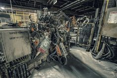 Big mess of a machine found inside of an abandoned auto plant