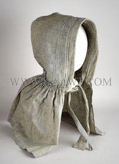 Antique Bonnet, Homespun, Blue and White Checked Cotton, angle view
