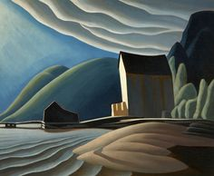 Lawren Harris, Ice House, Coldwell, Lake Superior, ca. 1923. Oil on canvas. 37 1⁄16 × 44 15⁄16 in. (94.1 × 114.1 cm). Art Gallery of Hamilton; Bequest of H. S. Southam, C.M.G., LL.D., 1966. ©Family of Lawren S. Harris.