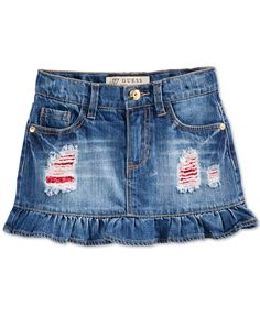Guess Little Girls' Distressed Denim Ruffle Skirt Baby Jeans, Girls Jeans, Jeans Refashion, Little Girl Skirts, Distressed Jean Skirt, Girls Frock Design, Baby Frocks Designs, Frocks For Girls, Little Girl Fashion
