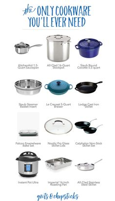 Only Cookware You'll Ever Need Check out the only cookware you'll ever need to stock your kitchen and get cooking like a pro!Check out the only cookware you'll ever need to stock your kitchen and get cooking like a pro! Kitchen Items, Kitchen Hacks, Kitchen Utensils, Kitchen Tools, Kitchen Appliances, Kitchen Supplies, Cooking Utensils, Best Kitchen Gadgets, Small Appliances
