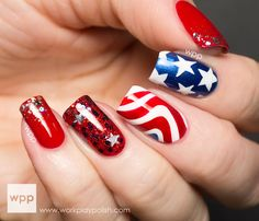 Special of July Nail Designs for Good Expression of Patriotism : Of July Fingernail Designs Ieas. of July of july nail of july nail design of july nail images and photos Star Nails, Red Nails, White Nails, Hair And Nails, White Glitter, Fingernail Designs, Red Nail Designs, Simple Nail Art Designs, American Flag Nails
