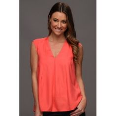 halston heritage s l v neck drapey top guava apparel review online