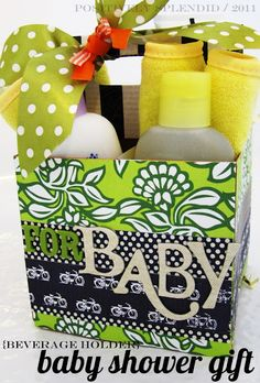 baby shower gift in a beverage holder.  super cute and could be modified for other occasions.