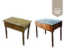 Uma mesa menosprezada na rua, pode sempre ser uma peça com potencial. - Restauro para Cliente.