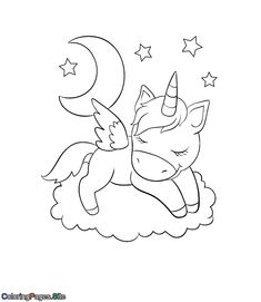Unicorn online coloring for kids with online coloring tools Unique Coloring Pages, Coloring Pages For Kids, Adult Coloring, Unicorn Coloring Pages, Horse Coloring Pages, Online Coloring For Kids, Beautiful Unicorn, Sleep, Clouds