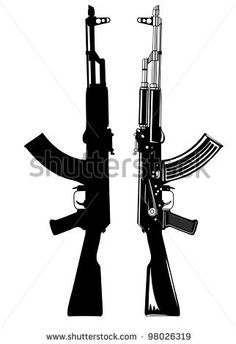 stock vector : Vector image of the automatic machine AK 47