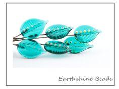 Set 6 handmade jade glass lampwork leaves on by Earthshinebeads, £9.00