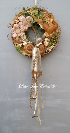 "Türkränze - Türkranz Kranz zeitlos ""rostige Herz"" - ein Designerstück von Deko-Idee-Eolion bei DaWanda Moss Wreath, Grapevine Wreath, Wreaths For Front Door, Door Wreaths, Easter Wreaths, Handmade Home Decor, Summer Wreath, Topiary, Dried Flowers"