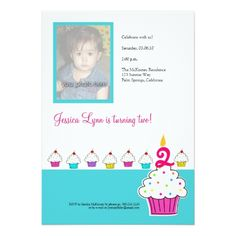 Photo Card Birthday Invitation Cupcake Photo Invitation, Birthday Party Card
