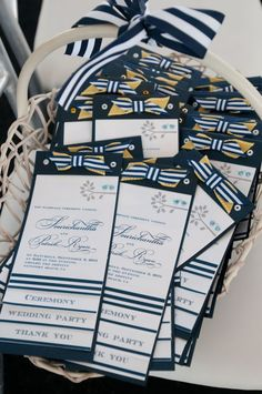 DIY Nautical Invitations and Wedding programs :  wedding invitations nautical navy and white program B 1210