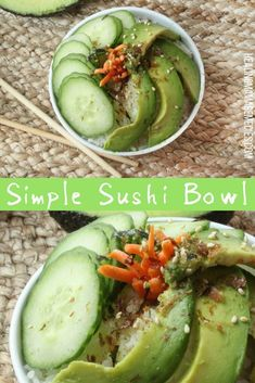 Sushi Bowl: Easy and Packed With Vegetables - Healing Mama Avocado Recipes, Veggie Recipes, Whole Food Recipes, Vegetarian Recipes, Dinner Recipes, Healthy Recipes, Healthy Foods, Sushi Bowl, Vegan Comfort Food