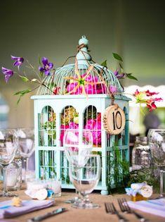 Unique Wedding Centerpieces_brid cage with flowers