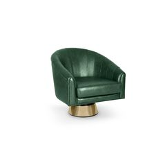 Being a matinee idol, Bogarde soon became a giant in the high-rank intellectual cinema. That's the reason behind this inspiring accent armchair. It is finished in leather, a very popular fabric in the 60's, and the swivel polished brass base conveys an idea of style and playfulness. It can make a great occasional chair for your home or office decor.