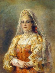Zinaida Yusupova in Russian dress by Konstantin Makovsky,1900s