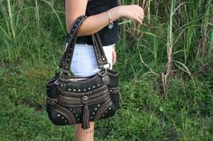 U.S. made conceal carry purse with fringe @ facebook.com/RyansDaughters Concealed Carry Bags, Conceal Carry, Holsters, Carry On, Daughter, Facebook, Purses, My Style, Black
