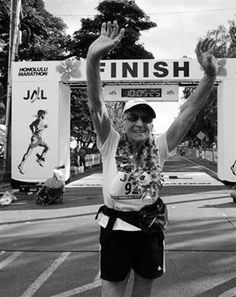 "Gladys Burrill, ""Gladyator,"" or ""Glady"" for her positive outlook, is the oldest female marathon runner who broke the Guinness World Record in 2011 for her finishing time 9 hours, 53 minutes for her age group at 92 years. A multi-engine pilot, mountain climber, hiker, and horseback rider, she didn't run her first marathon until age 86. ""Just get out there and walk or run,"" she advised. She trains 30 to 50 miles a week at home in Prospect, Oregon or in Hawaii where she lives part of the year."