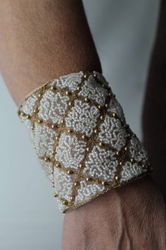 embroidered cuff by Laurie Lemelin of Abrash Embroidery Tambour Beading, Gold Wire, Hand Embroidery, Cuff Bracelets, White Gold, Beads, Artist, Inspiration, Jewelry