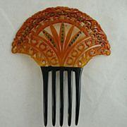 Art Deco Celluloid and Rhinestone Comb Orange and Black