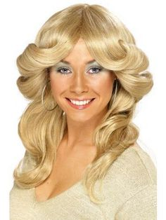 Blonde Flick Wig Disco Abba Fancy Dress Charlies Angels 1970s Costume Accessory