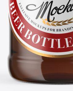 500ml Amber Beer Bottle With Swing Top Mockup