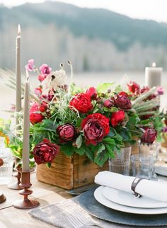 Deep red floral centerpiece.