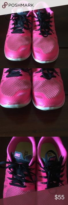 Hot Pink Nike Free 5.0 Hot pink and black nike free 5.0.  Worn a few times but in great condition.   Includes box. Nike Shoes Athletic Shoes
