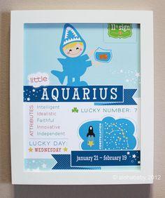 Aquarius Baby Zodiac Print by alohababydesign on Etsy, $12.00