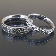 Antique 14k White Gold his her Victorian engraved comfort ft wedding rings bands by crystalanchor on Etsy