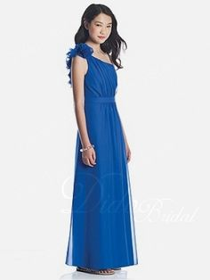 Chiffon One-shoulder Floor-length Junior Bridesmaid Dress With Flower