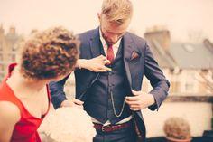 Simple London Wedding Blue Suit Groom Red Tie http://missgen.com/
