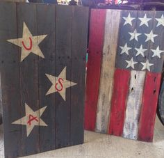 Patriotic signs made from pallet boards