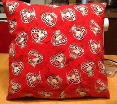 Snoopy valentine throw pillow back solid red. by MawmaRosesCrafts, $15.00