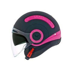 Nexx Plain Helmet in Black/Pink - This scooter/jet helmet comes with a soft, anti-allergy and anti-sweat inner liner, which keeps your head comfortable and feeling fresh, thanks to the new Cooling Cover Tech ventilation system. Motorcycle Equipment, Motorcycle Luggage, Motorcycle Helmets, Ventilation System, Magenta, Purple, Jet, Model, Pink