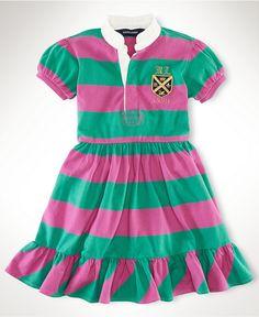 Love this color combo.  Ralph Lauren Kids Dress, Little Girls Rugby Dress - Kids Girls 2-6X - Macy's $45.00 #MacysBTS