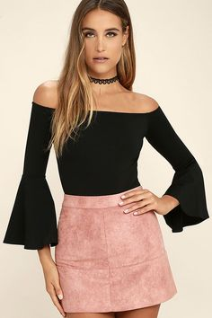 The Good One Black Off-the-Shoulder Bodysuit has all your favorite trends  wrapped 254dee1fd