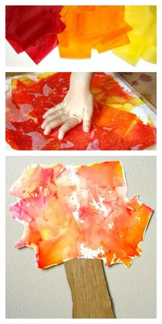 Create beautiful art with bleeding tissue paper. Then put together this simple fall tree craft for kids.