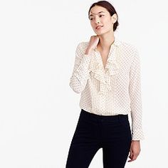 Tuxedo ruffle top in polka-dot silk georgette