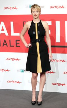Pretty Bee from Jennifer Lawrence's Best Looks  The actress goes for black-and-yellow in a flirty Proenza Schouler frock—paired with studded Saint Laurent pumps—at a Hunger Games photocall in Rome.