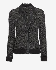 rag & bone | Leather Collar Tweed Jacket in black