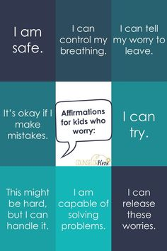 Help kids learn to interrupt worry thoughts with positive and realistic affirmations! Check out these 8 affirmations for kids who worry! Positive Affirmations For Kids, Positive Self Talk, Quotes Positive, Daily Affirmations, Positive Thoughts, School Counseling, Group Counseling, Anxiety In Children, Coping Skills