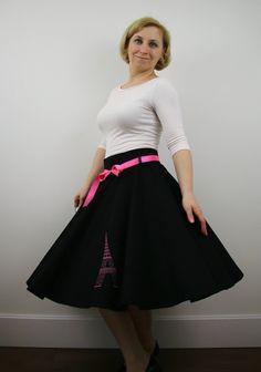 Eiffel Tower full circle skirt for women, black skirt, 1950s skirt, skater swing skirt, knee length skirt, midi skirt, souvenir clothing by ElzahDesign on Etsy