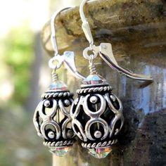 Metal Earrings Bali Silver Filigree Sterling Silver by fineheart, $28.00