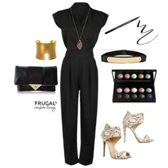 Frugal Fashion Friday Black Jumpsuit Outfit on Frugal Coupon LIving. Outfit of the Day. Girl's Night Out. How to wear it. Jumper Outfit.