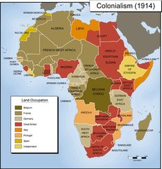 This is a map of what Africa's colonies looked like in 1914 during Europe's scramble for Africa. Countries in your wanted to colonize Africa so that they could take its natural resources. The colonies merged ethnic and religious groups that didn't like each other and because the colonies influenced the current borders of these countries this is still an ongoing conflict.
