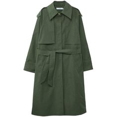 MANGO Military-style trench (9.685 RUB) ❤ liked on Polyvore featuring outerwear, coats, khaki, fur-lined coats, khaki green coat, mango coats, green military coat and trench coats
