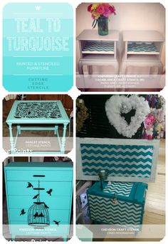 Turquoise to Teal: Painted and Stenciled Blue Furniture :: Hometalk