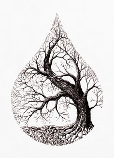 Tree Tattoo water drop tree Your Number One source for daily Tattoo designs Ideas Inspiration Tattoo Drawings, Body Art Tattoos, Art Drawings, Drawings Of Trees, Tattoo Sketches, Pencil Drawings, Sleeve Tattoos, Tree Of Life Artwork, Natur Tattoos