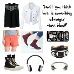 """""""Dead of summer OC - Cecily 3"""" by theultimatefashionlover ❤ liked on Polyvore featuring LE3NO, Chaps, Boohoo, DRKSHDW, Master & Dynamic, Balenciaga, Kempink and Hot Topic"""